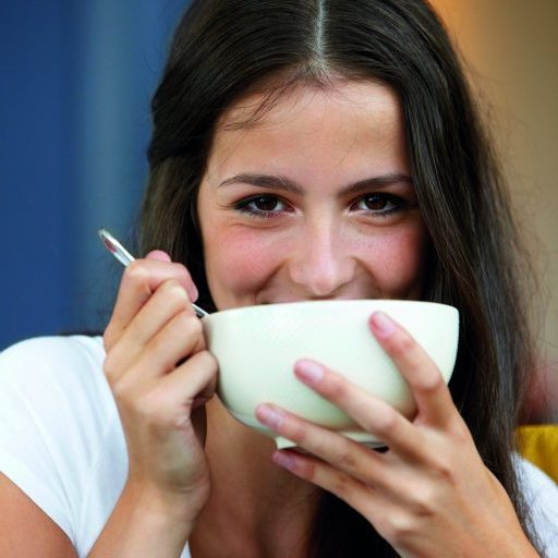 Woman eating soup from a bowl with a great taste