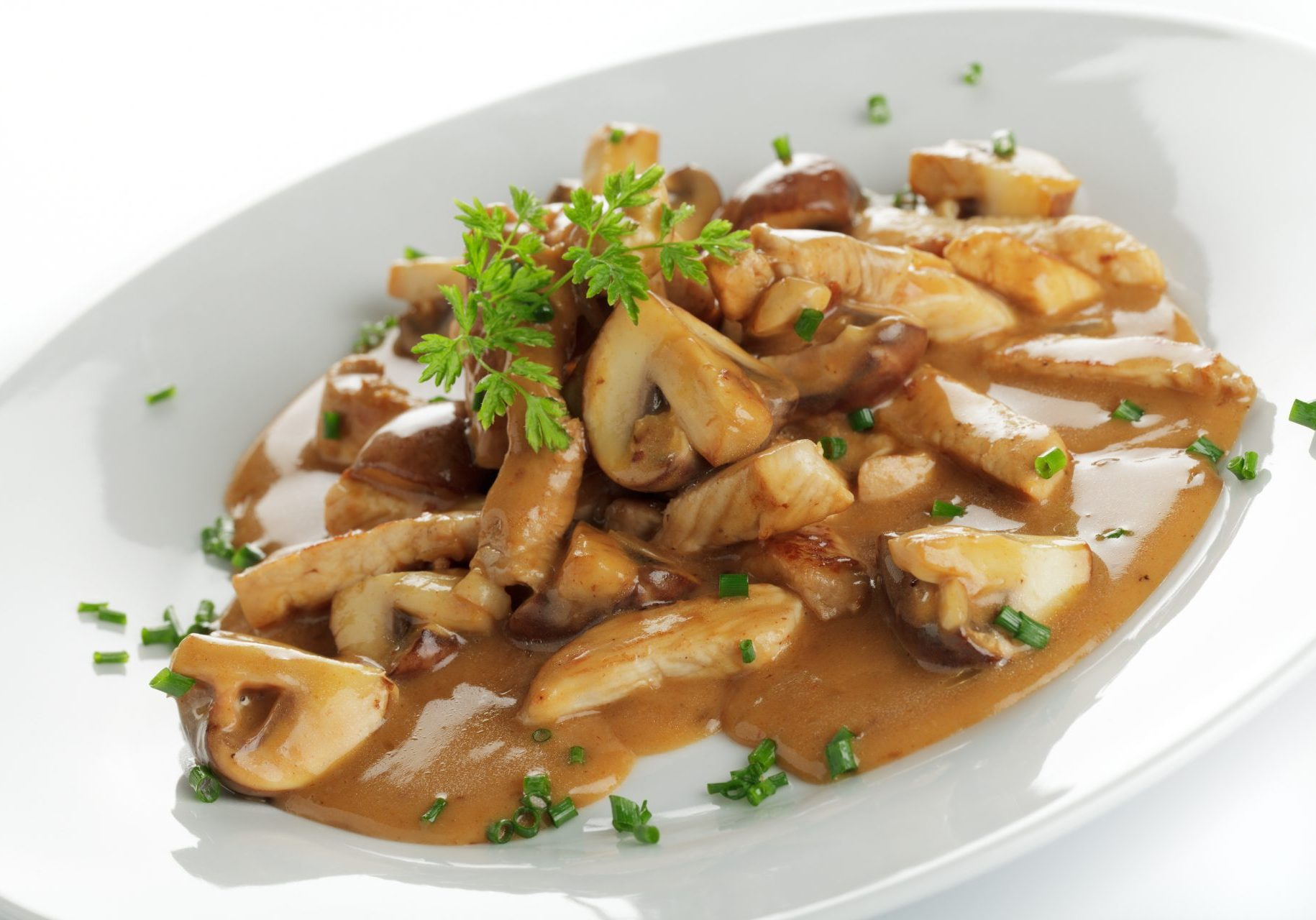 Mushrooms and meat stripes in brown sauce on a white plate